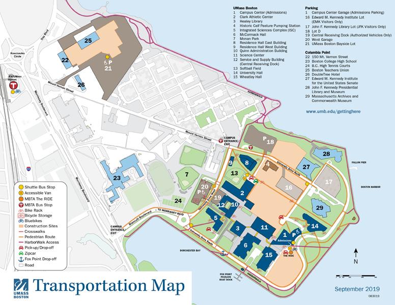 Umass Boston Campus Map Maps & Directions   University of Massachusetts Boston   Acalog ACMS™